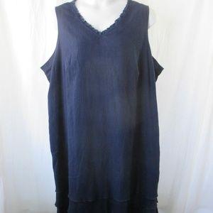 D & Co Navy Tiered Sleeveless Dress Sz 2X Denim&Co